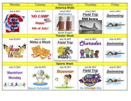Youth Camp Activity Schedule July 24